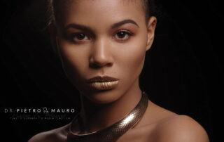 Woman with golden lipstick - Pietro Di Mauro
