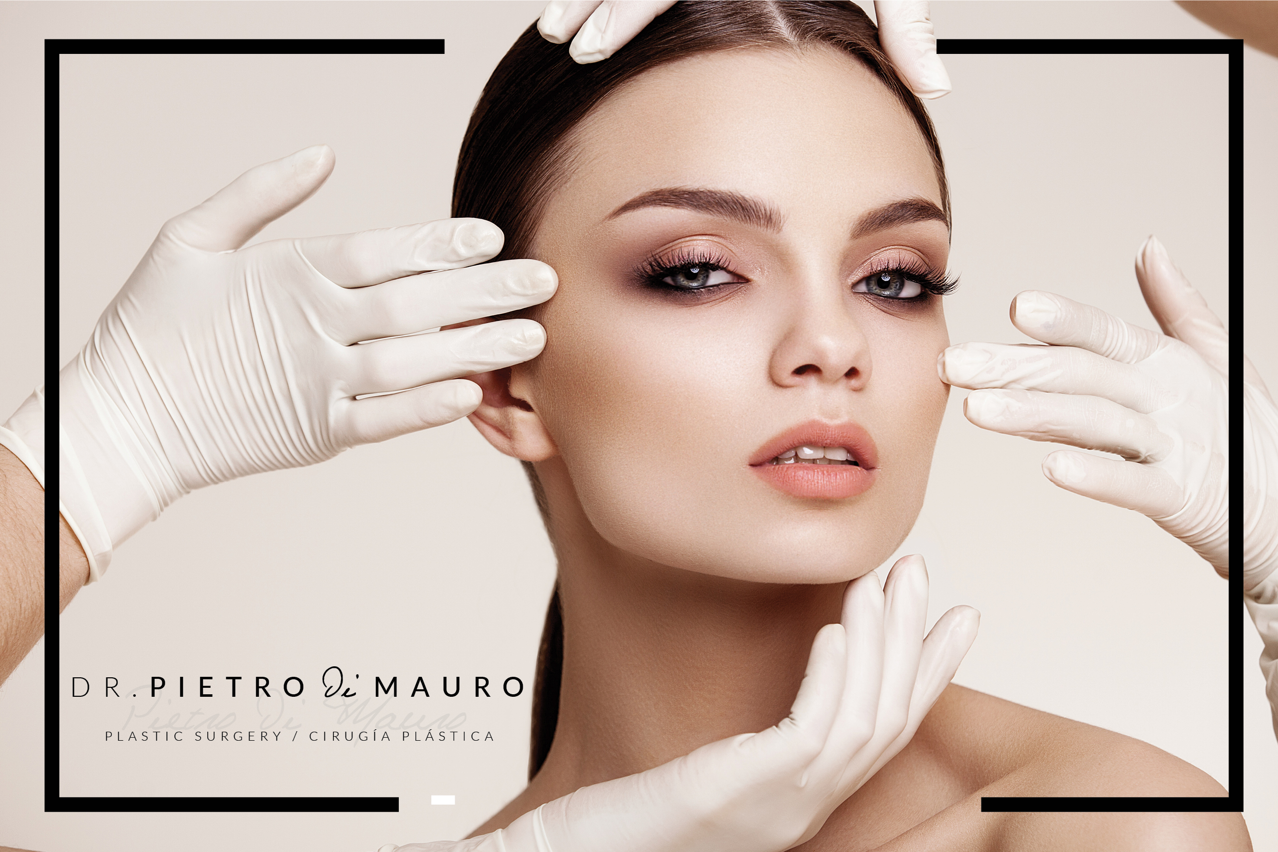 Beautiful woman with white gloves touching her face - Pietro Di Mauro