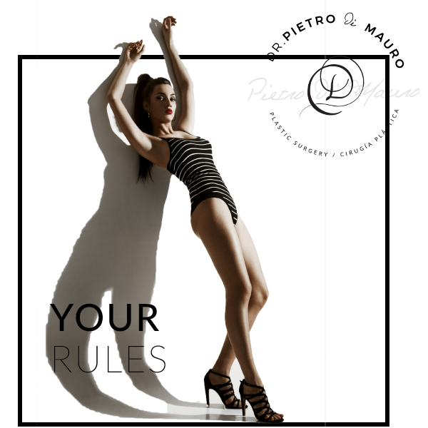 Model with black bathing suite standing in a frame with the saying your rules - Pietro Di Mauro